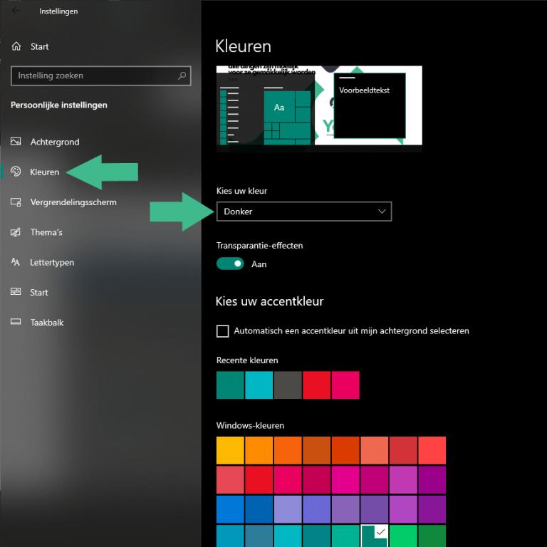 Donkere modus instellen bij Windows