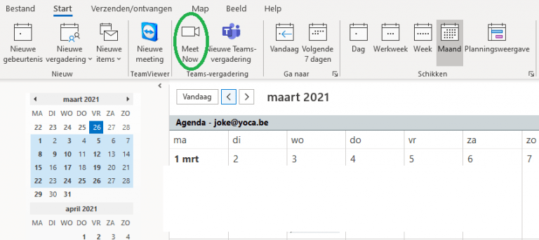 Een ongeplande Teamsmeeting starten in Outlook
